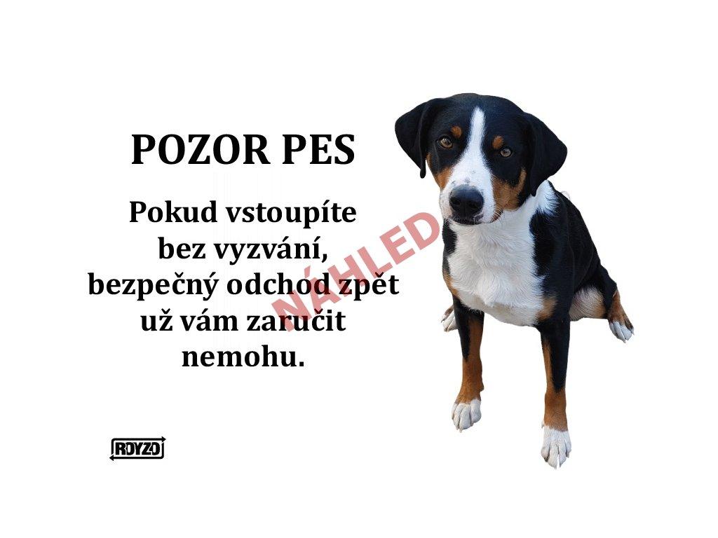 Výstražná vtipná cedule pozor pes - psí plemeno Apenzilský salašnický pes