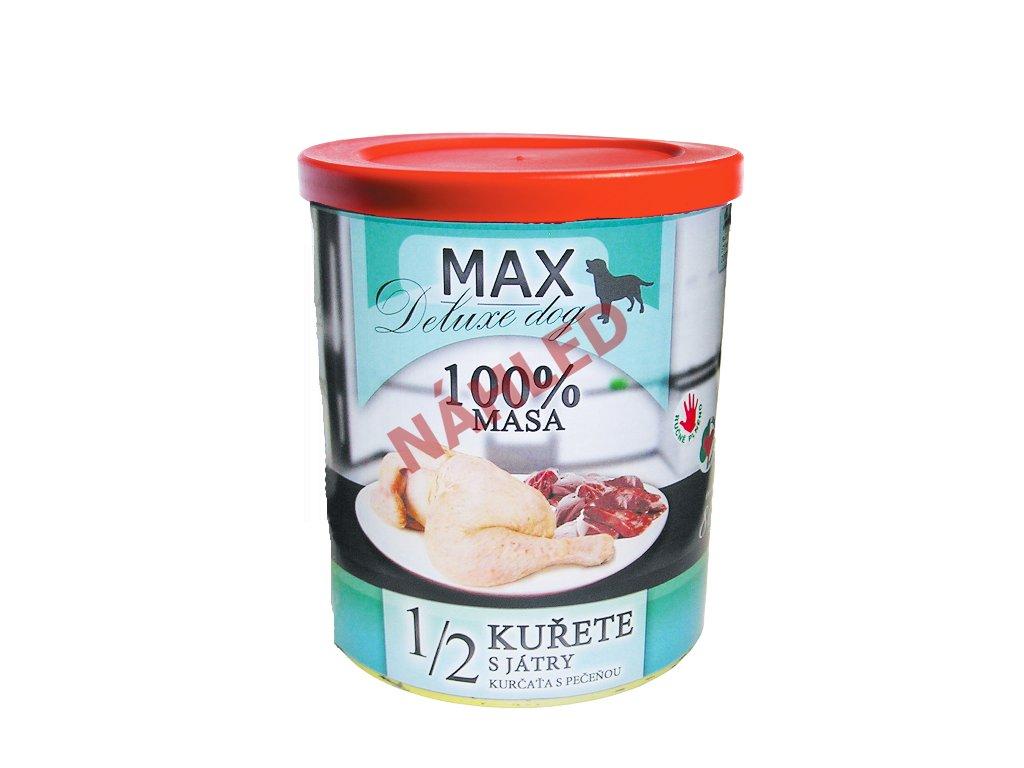 Max deluxe dog polovina kuřete s játry 800g
