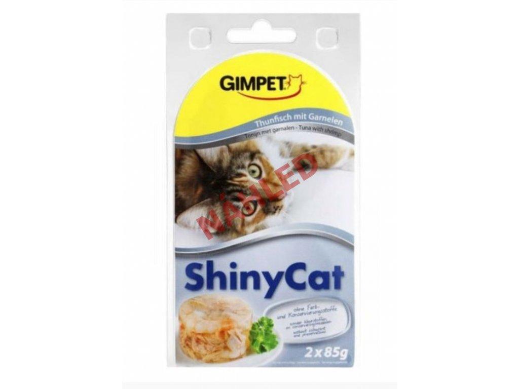 Gimpet konzerva pro kočky ShinyCat tuňák/krevety 2x70g