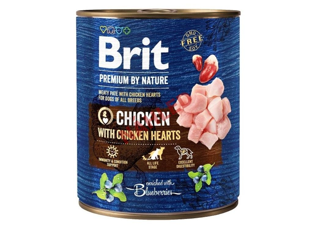 Brit premium dog by Nature chicken/hearts 800g
