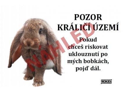 Výstražná vtipná samolepící cedule pozor králík - Králík domácí hnědý