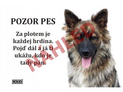 Výstražná vtipná cedule pozor pes - psí plemeno Kříženec 2