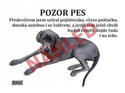 Výstražná vtipná samolepící cedule pozor pes - psí plemeno Německá doga modrá