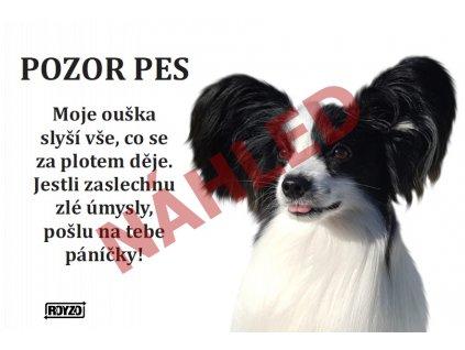 Výstražná vtipná cedule pozor pes - psí plemeno Papillon