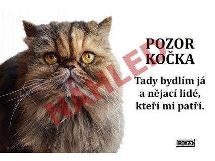 Výstražná vtipná cedule pozor kočka - Perská kočka