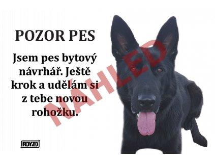 Výstražná vtipná samolepící cedule pozor pes - psí plemeno Německý ovčák černý