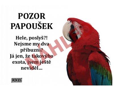 Výstražná vtipná samolepící cedule pozor papoušek – Ara Arakanga