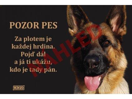 Výstražná vtipná samolepící cedule pozor pes - psí plemeno Německý ovčák