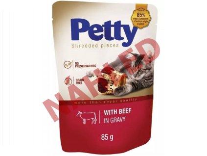 Kapsička pro kočky Petty - trhané kousky s hovězím v omáčce 85g