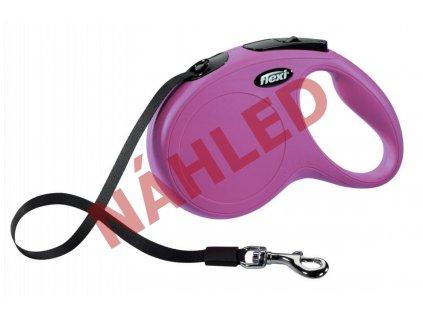 Vodítko Flexi S 5m (max 15kg) pásek růžová