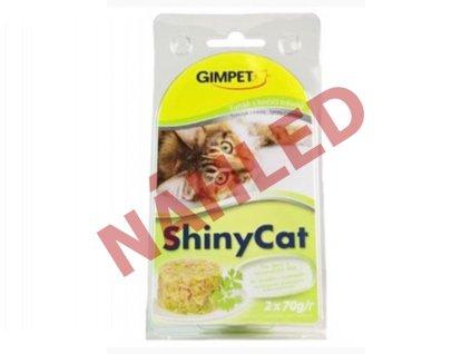 Gimpet konzerva pro kočky ShinyCat tuňák/kočičí tráva 2x70g