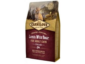 3780 carnilove cat lamb wild boar for adult cats sterilised 2kg