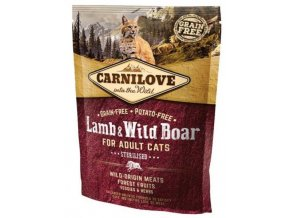 3762 carnilove cat lamb wild boar for adult cats sterilised 400g