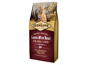 3798 carnilove cat lamb wild boar for adult cats sterilised 6kg