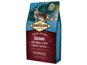 3777 carnilove cat salmon for adult cats sensitive long hair 2kg