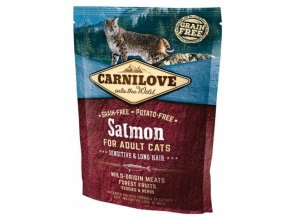 3759 carnilove cat salmon for adult cats sensitive long hair 400g