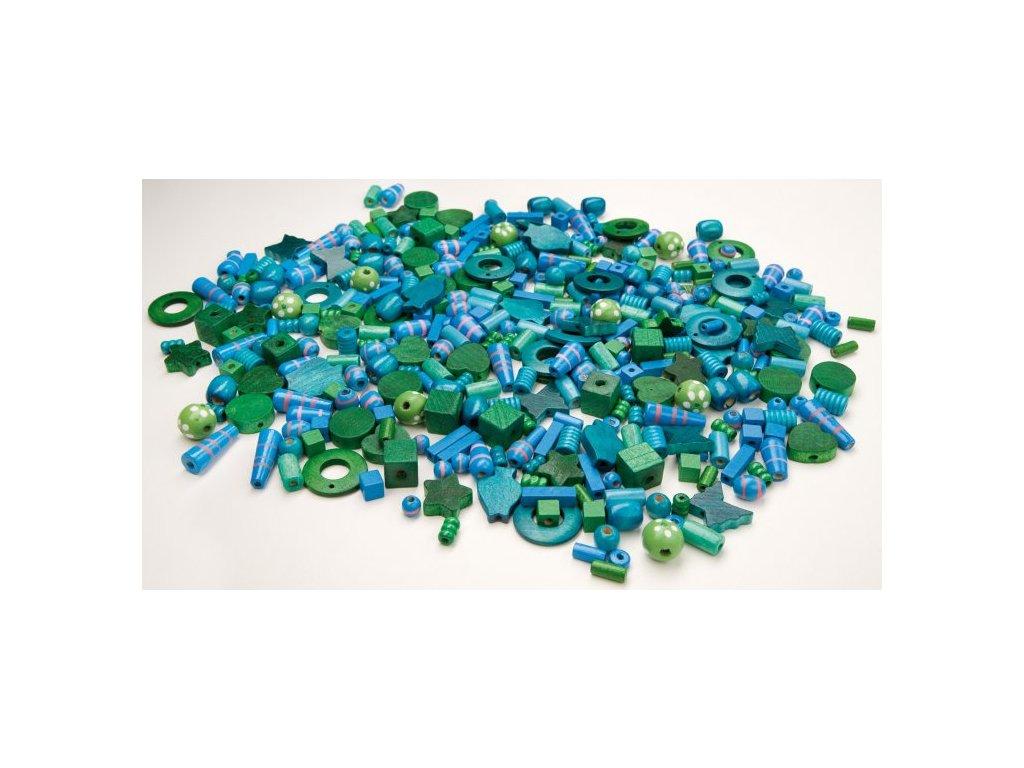 koralky drevene modre