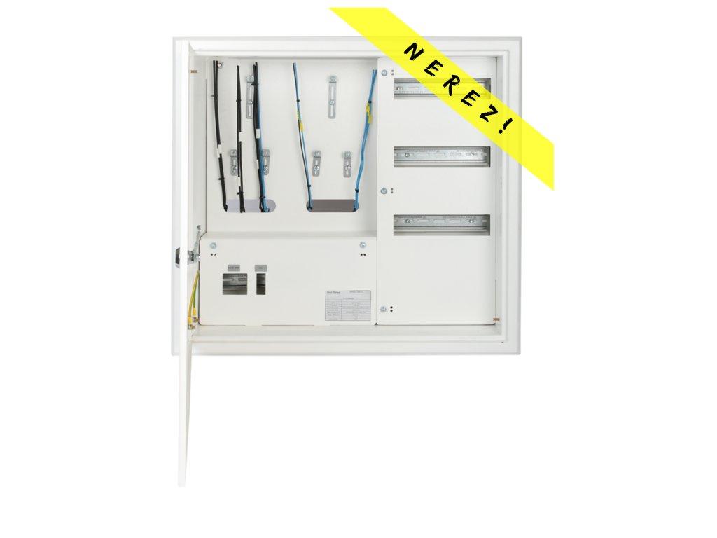 Domovní nerezový elektroměrový rozvaděč SRE 21Z/36M HDO