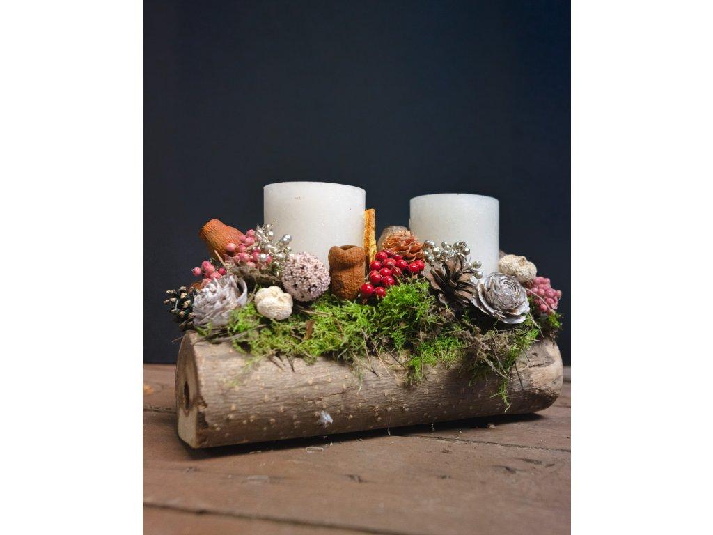 Adventný svietnik v dreve biely