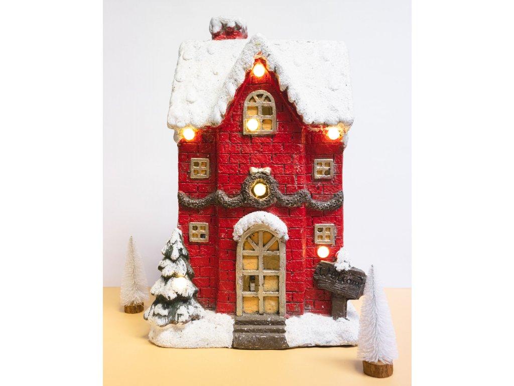 vianočný domček červený