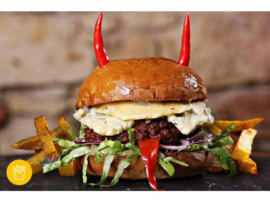 160g HOT RED & BLUE BURGER s porcí hranolek