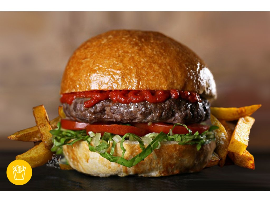 160g HAMBURGER s porcí hranolek