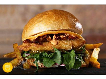 150g CHICKEN BURGER s porcí hranolek