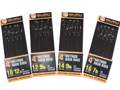 guru 4 inch method feeder hair rigs with speed stops size 12 9lb 15005275 1600