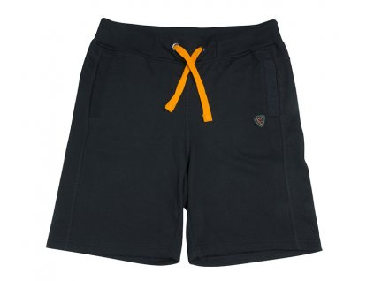 black orange jogger shorts flat
