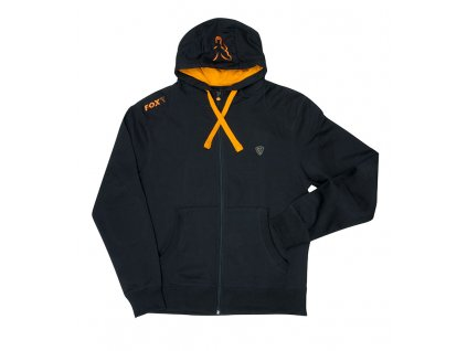 black orange zip hoody flat