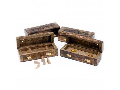 Krabička na vonné kužely Mangové dřevo 1 ks