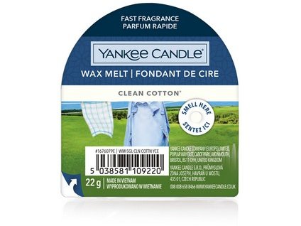 Yankee Candle vonný vosk do aromalampy nový CLEAN COTTON 22g