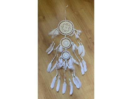 Lapač snů háčkovaný s korálky 3 kruhy 70 cm