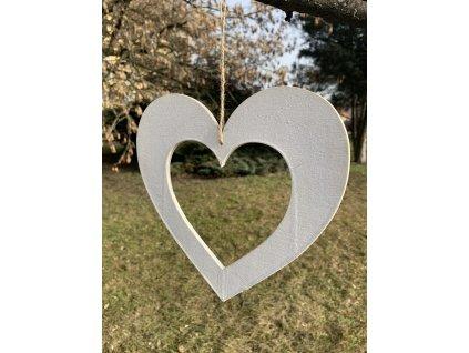 Dekorace srdce dřevo 1 ks