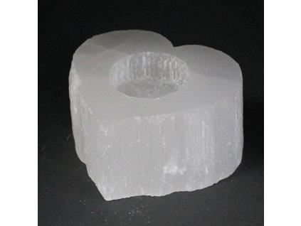 Selenitový svícen Srdce 8 cm