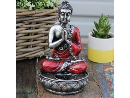 Buddha svícen na čajovou svíčku červený 1 ks