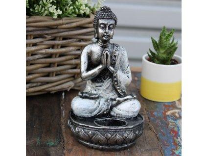 Buddha svícen na čajovou svíčku bílý 1 ks