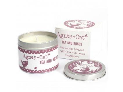 Svíčka v Plechovce - Čaj a Růže