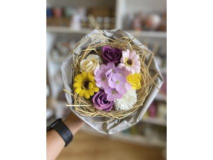 Mýdlová kytice 1 ks - žluto-fialová