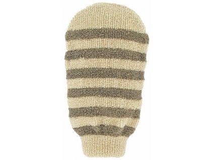 Masážní rukavice - bio len - proužky s 2 hrubostmi