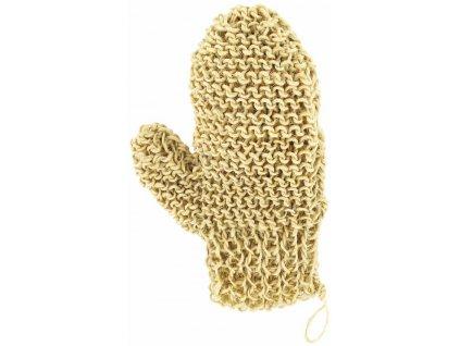 Masážní rukavice - sisal - ručně pletená palcová