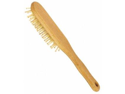 Vlasový kartáč z bukového dřeva se zakulacenými dřevěnými ostny - oválný