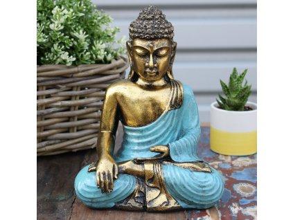 Ručně malovaný Buddha- Zlatá+Modrá 22 cm