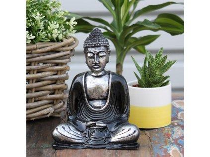 Ručně malovaný Budha - Černá+Šedá 15 cm
