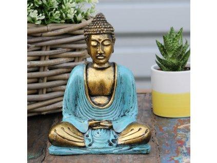 Ručně malovaný Buddha - Modrá+Zlatá 15 cm