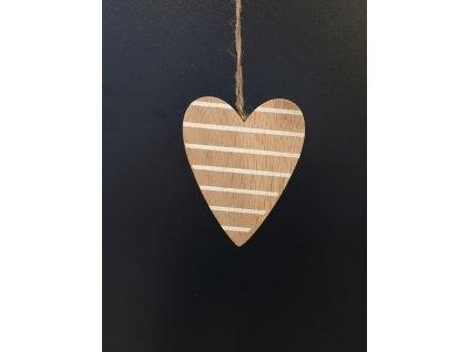 Dřevěné dekorační srdce závěsné  9 cm