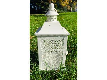 Lucerna bílá plech s ornamenty 1 ks
