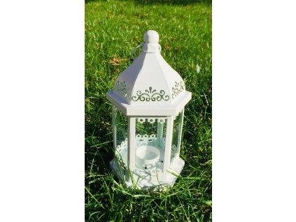 Lucerna bílá plech na čajovou svíčku 1 ks