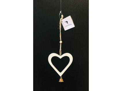 Dřevěné srdce se zvonečkem 1 ks