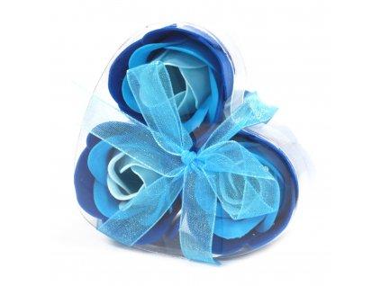 Mýdlové květy modrá  růže-sada 3ks 17g